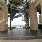 View of the ocean as you enter the beach through the Sands restaurant