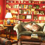 Bookshelves and loveseat