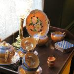 Pretty plates on the tea cart in the dining room