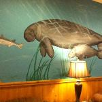 Wall mural of manatees in Function Area