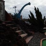 One of the dinosaurs outside