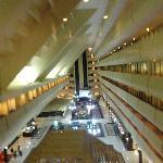Lobby through glass elevators.
