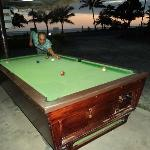 playing pool and relaxing