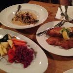 Feast Course #5 - wienerschnitzel, jagerschnitzel with mushroom sauce, roasted veggies