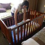 The hotel provided a crib for free - at our request