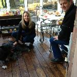 Breakfast with my Mum, Dad and Timmy the dog!