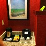 mini bar and coffee area in the room