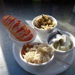 imitation de langouste, crabe, coques et hareng