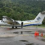 A Dash 7 aircraft providing air connections to KL and Singapore