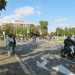 Walking from the hotel to tram station--there was a big biker parade going on