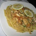 Chicken Francese over pasta
