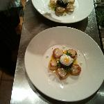 Pan fried scallops, black pudding, soft fried quail egg