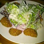 fried green tomatoes, boston bibb, pimento cheese, pickled onions, bacon & black pepper ranch