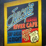 Lighted sign just off I-40 for Juicy's
