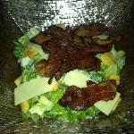 Caesar salad with veal bacon