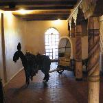 burro and cart in hallway