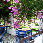 Partial view of the patio of the Oasis Tavern near Frangokastello, Crete, Greece.