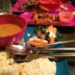 roast duck curry and tempura veg