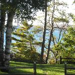 View of the lake from the lodge front lawn