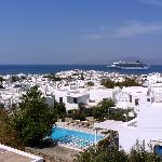 view of Mykonos town and the harbor