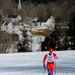 Skiing with historic Grafton, Vermont in the background