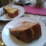 coffee and walnut with lemon polenta cake