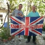 Myself and Lorenc with my world-travelled flag