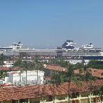 Cruise Ship at Port from other side of doorway