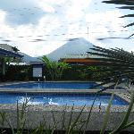 Looking over the pool towards Arenal Volcano