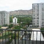 Ninth floor room's balcony view of Diamond Head/urban Honolulu
