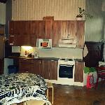 Hostel's organized clean kitchen