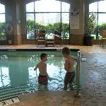 grandson and great grandson had fun in the pool