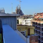 Utsikt mot Sagrada Familia från takbalong