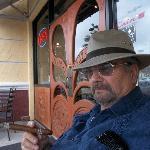 Enjoying a fine handmade cigar at Corona Cigar Company