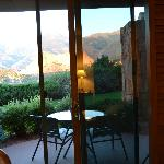 The patio and mountain view from the room.