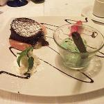 Molten chocolate mousse with homemade mint ice cream... heavenly.