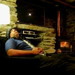 Relaxing by the indoor fireplace