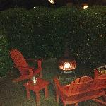 Outdoor patio at night