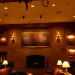 Fireplace, across the reception area.