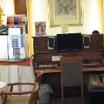 This is the family area/cappuccino maker/business center -piano is a stand for the computer