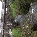 The picturesque Thredbo River runs next to the hotel and the footbridge in the photo leads to th