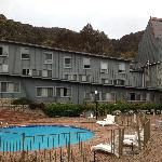 The Thredbo Alpine Hotel and our room was the one on the bottom left with the curtains open