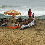 A religious ceremony on Papanasam beach
