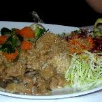 A typical filling plate - tofu and salads