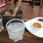 Started off with a great margarita and artisan bread in a handmade basket. Great hot sauces!