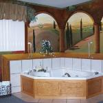 Tuscan Suite Double Jacuzzi - Hand painted Tuscan mural