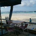 Hotel's small porch. Wow Beach!