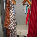 Robes and umbrella in closet