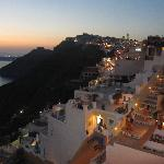View of Santorini at dusk from our private balcony