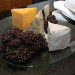 Artisan cheeses and fruit tray